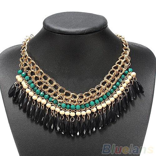 Bohemian Hot Vintage Stylish Layered Beads Tassel Choker Bib Gold Necklace B55U