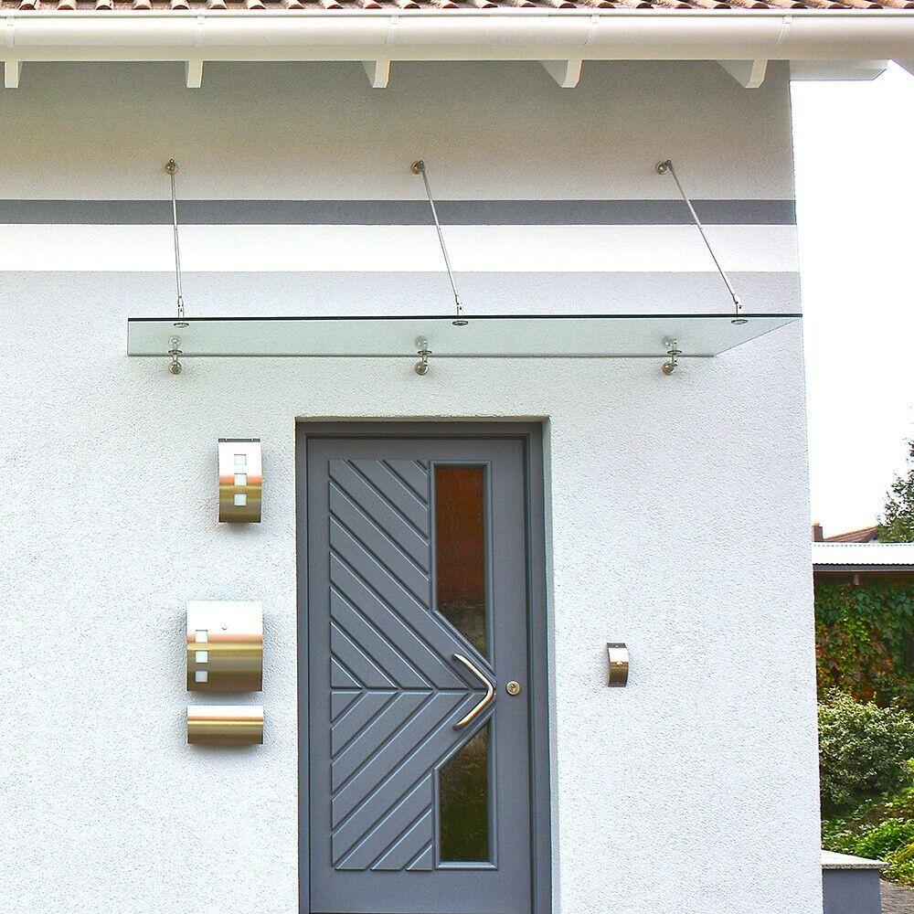 HOME DELUXE Glasvordach Edelstahl 300x90x1,2cm VSG Haustür Vordach inkl Halter