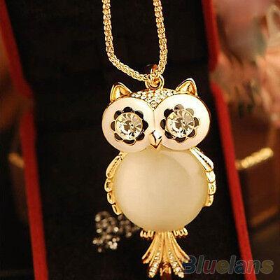 Women Great Rhinestone Statement Chunky Snowflake Shape Eye Owl Pendant Necklace