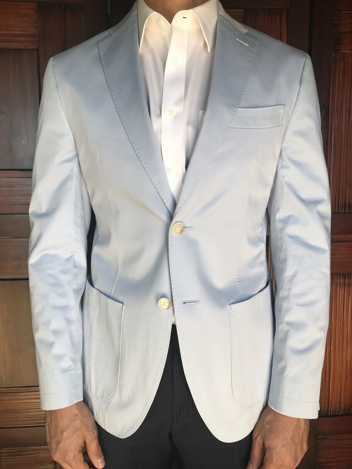 JKT New York Men's Light bluee Cotton Sporstcoat in Slim Fit Size 42R New