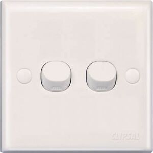 Schneider Clipsal 2 gang 1 way 2 terminal 250V 10A white Electrical switch