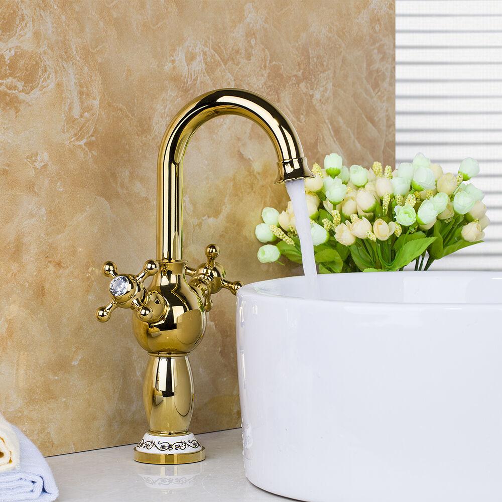Double Poignées Pivotant Bec Verseur de salle de bains bassin robinet d'évier Robinet mitigeur or poli