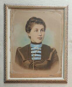 Large-antique-original-female-portrait-water-colour-painting-Edwardian-lady
