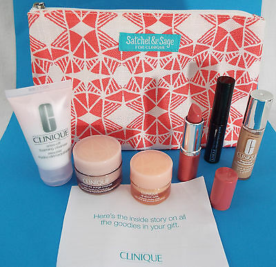 Clinique 7 Piece Satchel & Sage Matte Beauty Lip Mascara, Soap Bag Ivory Surge