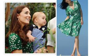 Green-Floral-Budding-Heart-Print-Tea-Silk-Vintage-Dress-UK-Size-8-10-12-14-16-18