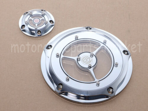USA Clarity 5-Hole Contrast Cut Derby Timer Timing Cover Chrome For Harley