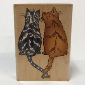 Inkadinkado-Rubber-Stamp-6709-N-Two-Cats-Back-View-Twisted-Tails-Wood-Mounted