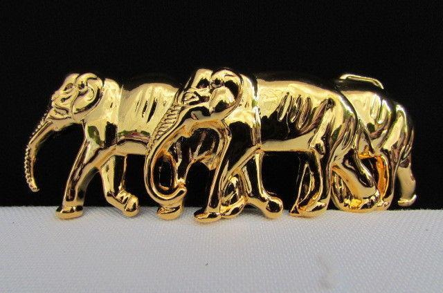 New Women Shiny Gold Metal Fashion Belt Buckle Thai Safari Elephant Narrow Belt
