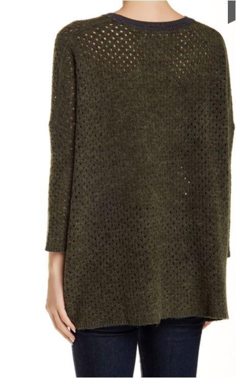 One Grey Day Ema Ema Ema Dark Grey Olivie Openweave Knit Sheer Wool Blend Boxy Sweater S 93b28f