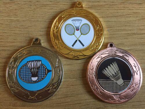 3 x Badminton médailles Or Argent /& Bronze-Gravure Gratuite Centres /& rubans 40 mm