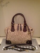 NW BRAHMIN TYLER NATURAL MINI PITONE SNAKESKIN TRUFFLE LEATHER SATCHEL PURSE BAG