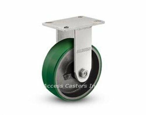 "5/"" x 2/"" Rigid Plate Caster Rubber Tire On Cast Iron Wheel 1-1770-R"