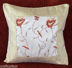 Silk-Embroidered-Brocade-Border-hand-made-White-Color-pillow-cover-India