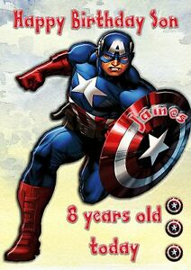 Marvels Captain America large card son n grandson personalised