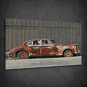 RUSTY OLD ABANDONED CAR VINTAGE BOX CANVAS PRINT WALL ART PICTURE