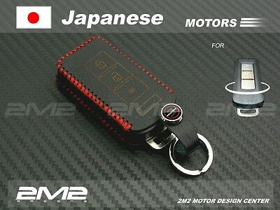 A1A214Leather Keyfob Holder Case Chain Cover FIT For Mitsubishi FORTIS iO LANCER