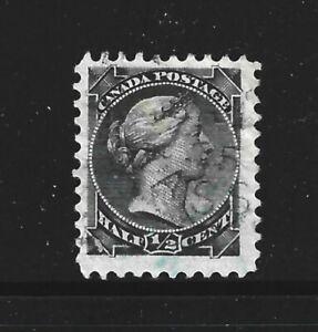 CANADA – 1872 – QUEEN VICTORIA ISSUE – 1/2 Cent, Black Color – Scott # 34 – USED