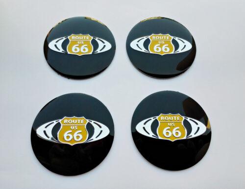 Route 66 4pcs 56 mm stemmi cerchi copri badge Cup Wheels Adesivi 56mm