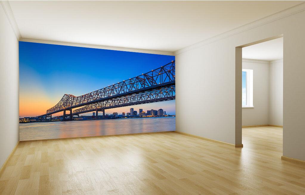 3D Blau Sky Bridge 98 Wallpaper Mural Paper Wall Print Wallpaper Murals UK Lemon