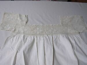 ANTIQUE-LINEN-with-CROCHET-FLOWERS-SHORT-SLEEVE-LADIES-NIGHTGOWN-40-034