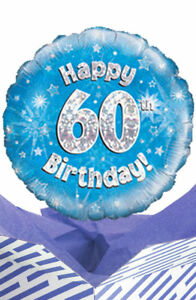Image Is Loading 60th Birthday Blue Balloon In A Box Gift