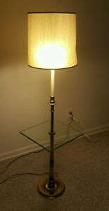 Vintage Stiffel Brass Floor Lamps Glass Table Tray Mid Century