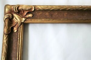 "Antique Fits 10 X 16"" ARTS CRAFTS  ART NOUVEAU Gold Gilt Picture Frame Wood 1930"