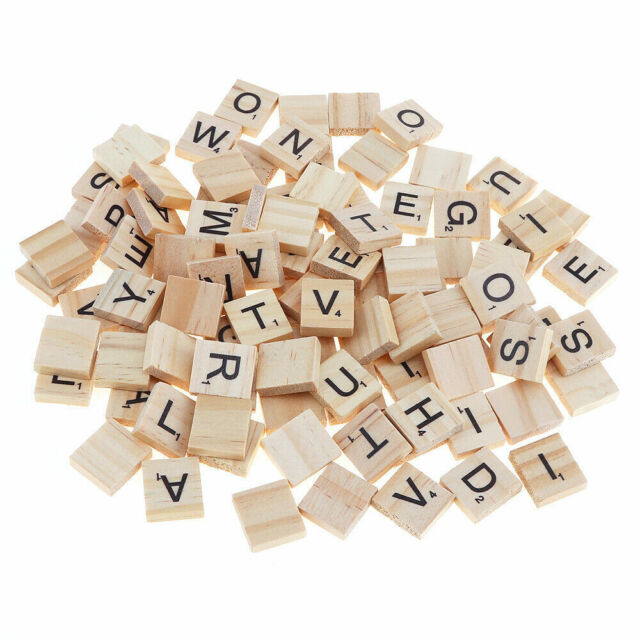 IVORY PLASTIC WITH BLACK LETTERS ONE FULL SET IVORY SCRABBLE TILE LETTERS