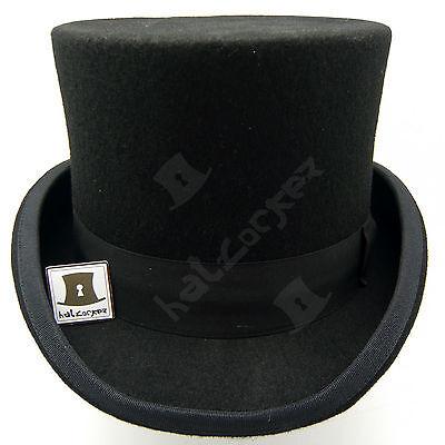 VINTAGE Wool Felt Tuxedo Topper Top Hat Men Victorian | 59cm | Black Brown Green