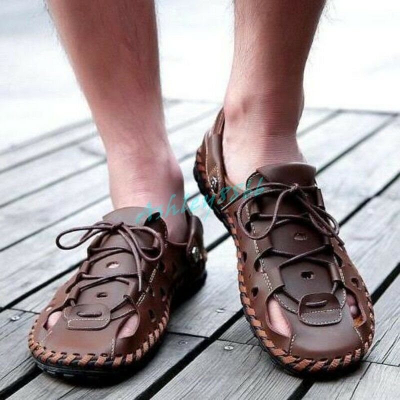 Mens Roma Close Toe Summer Casual Lace Up Sand Beach Sandals Slipper loafer 2018