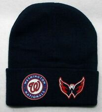 READ ALL! Washington Nationals/Capitals Heat Set Flat Logos on Beanie Knit hat