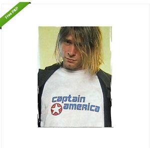 Captain America T-shirt Kurt Cobain-nirvana Daniel Johnston Hi Comment Vous Trou-afficher Le Titre D'origine Facile à Lubrifier