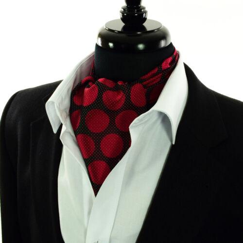 Gepunktet Ascot Schwarz Weiß Rot Grau Seide Krawatte Krawatte Schal