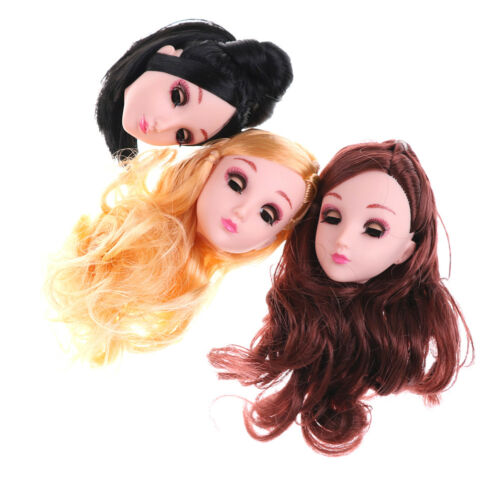 Kids Toy 4D Winking Doll Head with Hair DIY Accessory For 1//6 BJD DollsPl