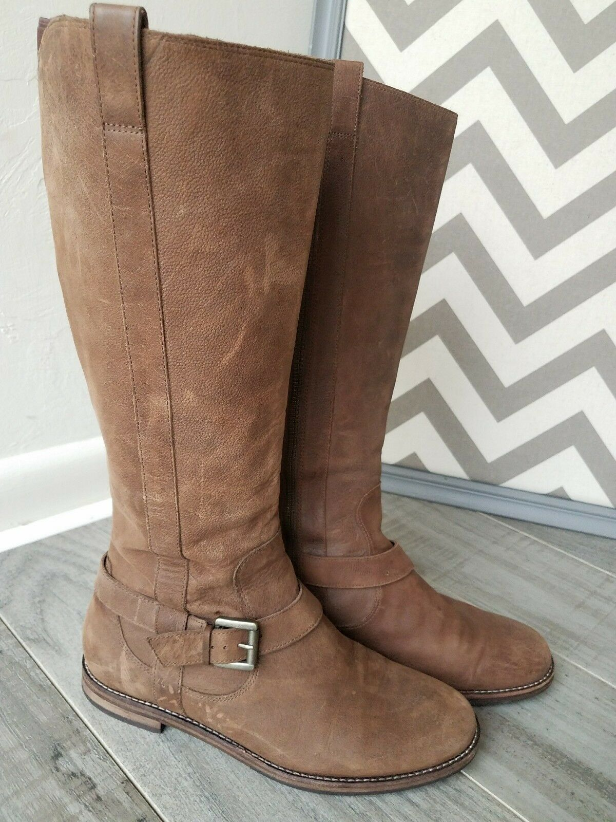 Cole Haan Air Petra Tall Brown Leather Zip Up Riding Boots Buckle sz 6