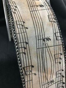 Wired-Music-Notes-Ribbon-10-Yards-2-5-034-WIDE-Sheer-Craft-Bows-Wedding-Bows