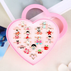 2-10-36pcs-Kids-Girls-Lovely-Cartoon-Rings-Little-Jewelry-for-Birthday-Gift-US