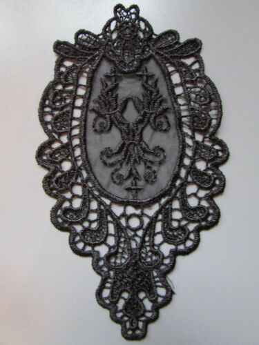 Black Embroidered  Applique Sewing//Costume//Crafts//Bridal