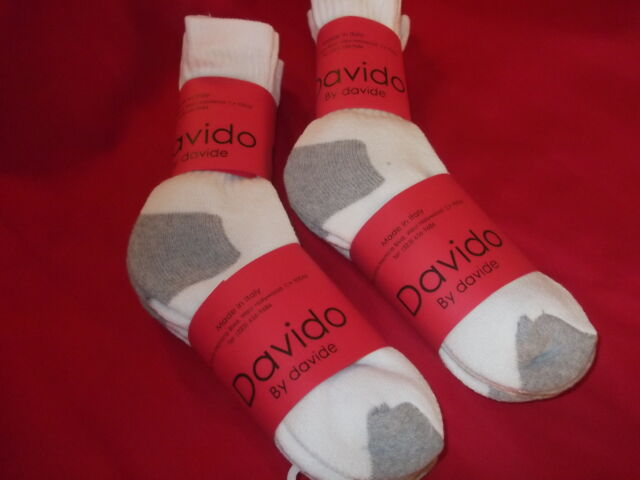 Davido women socks crew made in italy 100/% cotton size 9-11 color white 6 pairs