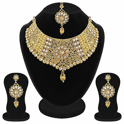 Friendly Indian Bollywood Wedding Jewelry Gold Plated Necklace Set Earrings Tikka 4 Pcs Fashion Jewelry