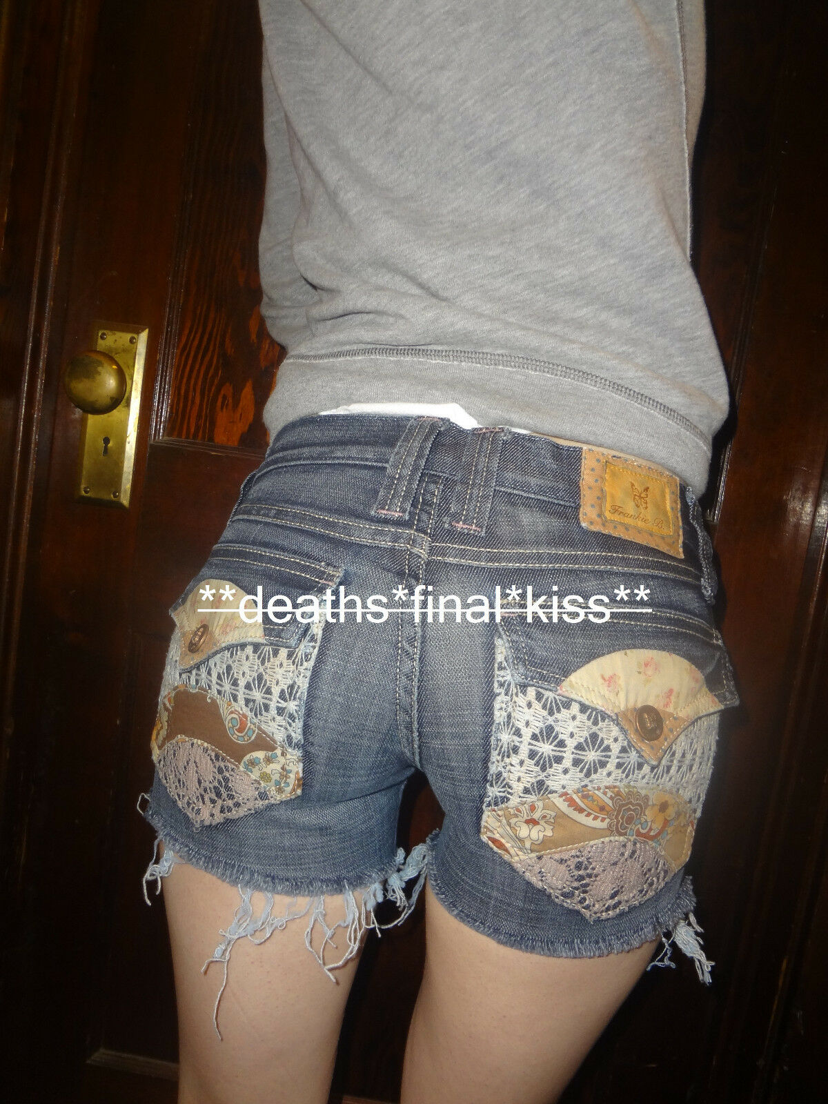 Frankie B ultra low rise patchwork lily pad jeans shorts dark wash 2 (24 25)