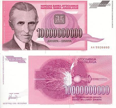 NIKOLA TESLA 10 BILLION YUGOSLAVIAN DINAR GLOSSY POSTER PICTURE PHOTO money 1594