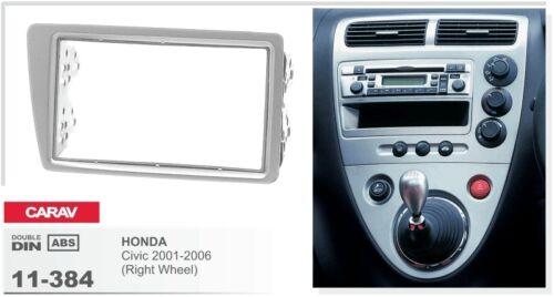 CARAV 11-384 2Din Car Radio Dash Kit panel HONDA Civic 01-06 Right Wheel//Silver