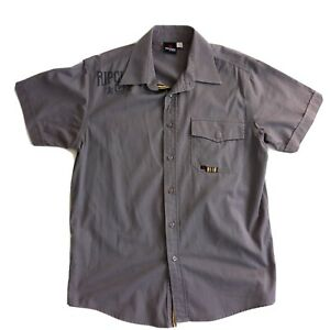Rip-Curl-Mens-Size-Medium-Grey-Short-Sleeve-Button-Shirt