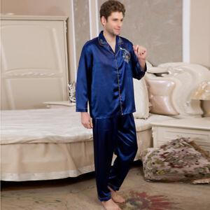 f7b88f7189 NWT 2PCS Mens Silk Satin Pajamas Sleepwear Pyjamas PJS Long Sleeve ...