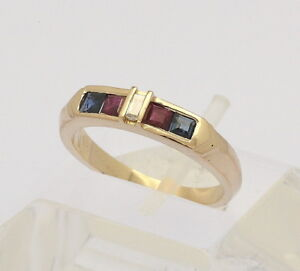 Ring-in-14-kt-585er-Gelb-Gold-mit-Baguette-Diamant-Rubin-Saphir-Rubinen-Saphiren