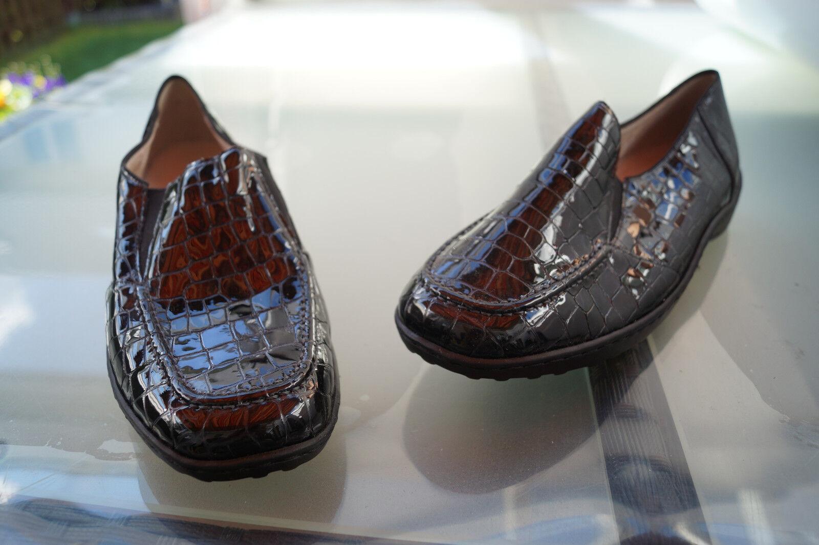 ARA Damen Comfort Schuhe Slipper Mokassins Lack Leder Gr.7 schwarz Gr.7 Leder G 41 Einlagen f0af97