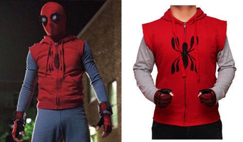 Spiderman-Homecoming Sleeveless Red Fleece Sweat Shirt Hooded Hoodie