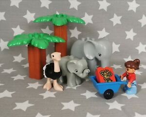 Official-Lego-Duplo-Animal-Safari-Bundle-Elephant-family-Ostrich-Person-Trees