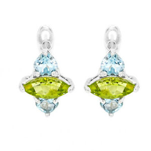 EARTH-MINED-9X5MM-PERIDOT-SKY-BLUE-TOPAZ-RARE-STERLING-SILVER-925-EARRING